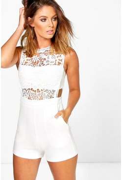 Womens White Boutique  Crochet Barely There Playsuit