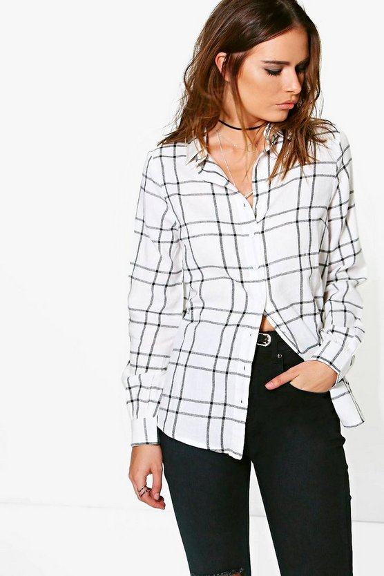 Womens White Sasha Checked Oversized Shirt