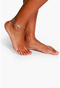 Womens Silver Double Layered Star And Bar Anklet