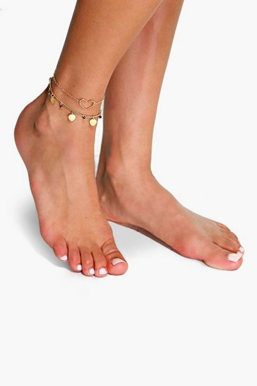 Womens Gold Double Layered Heart Pendant Anklet