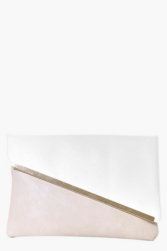 Paige Colour Block Metal Plate Clutch Bag