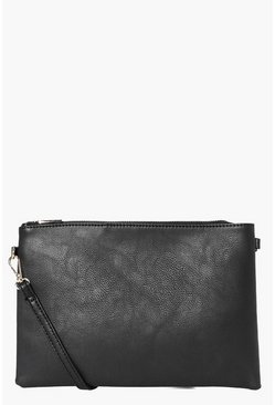 Womens Black Millie Zip Top Cross Body Bag