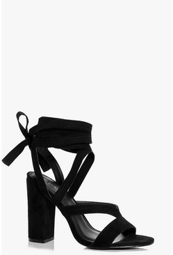 Womens Black Block Heel Wrap Strap Heels