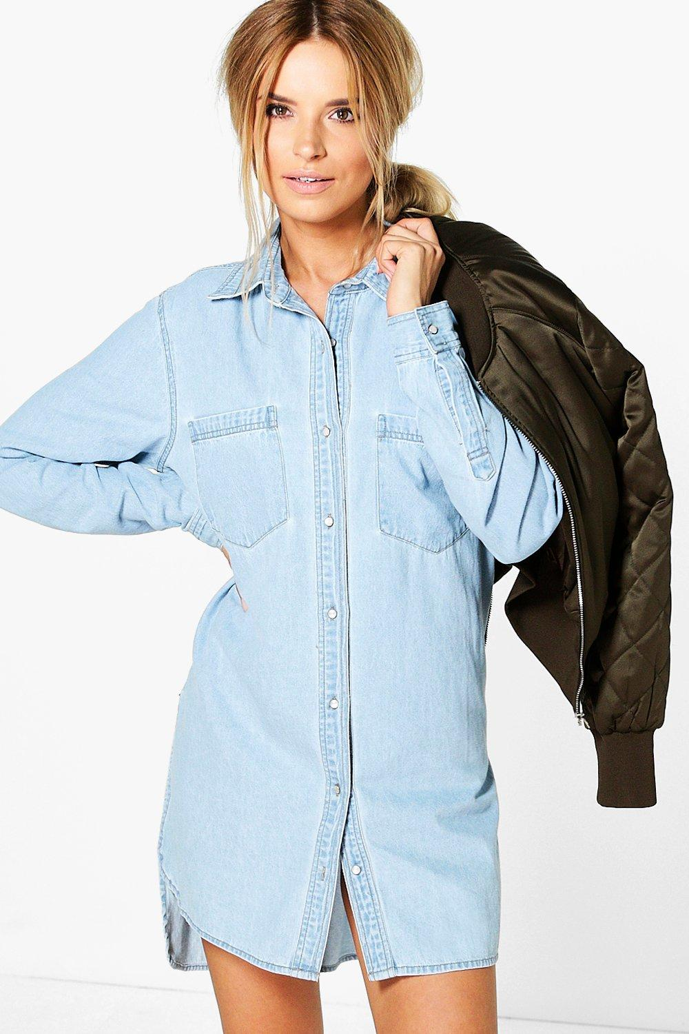 1bedcb6657682 Jenny Oversized Boyfriend Denim Shirt Dress