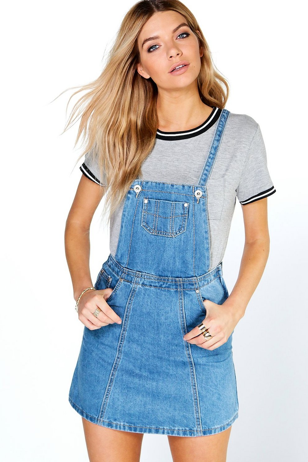 7c5a25823d75 Womens Blue Denim Pinafore Dress