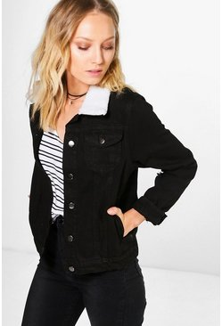 Womens Black Borg Collar Denim Jacket