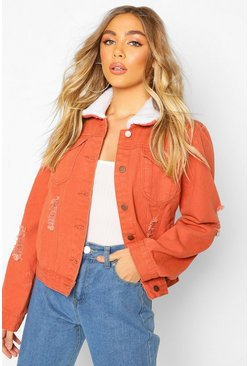 Rust Borg Collar Denim Jacket