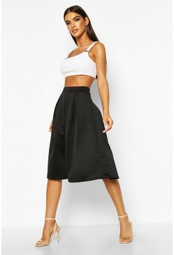 Black Basic Box Pleat Midi Skirt