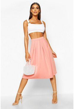 Dusky pink Basic Box Pleat Midi Skirt