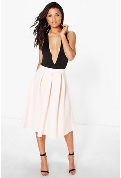 Womens Nude Basic Box Pleat Midi Skirt