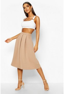 Sand Basic Box Pleat Midi Skirt