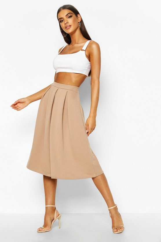 Womens Sand Basic Box Pleat Midi Skirt