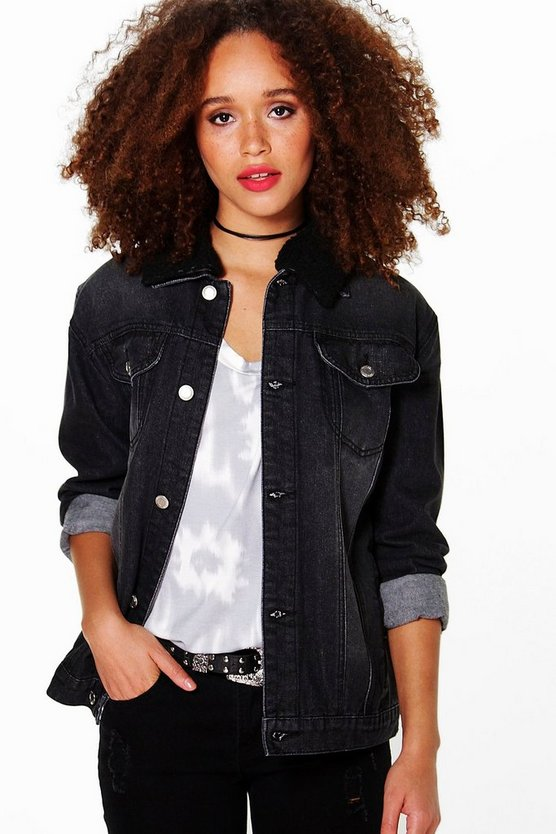Borg Collar Trucker Denim Jacket