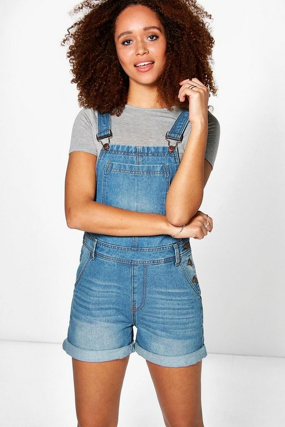 Mid blue Amelia Boyfriend Denim Dungaree Shorts