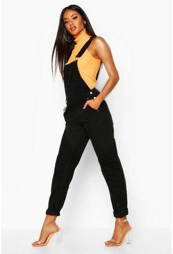 Womens Black Boyfriend Denim Dungarees