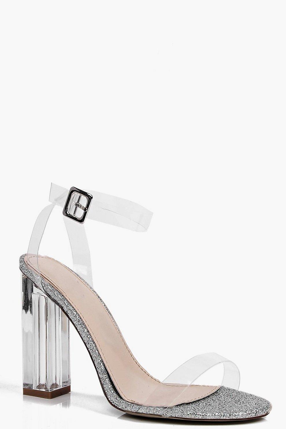 9242cbdc4f8 Victoria Glitter Clear Block Heel