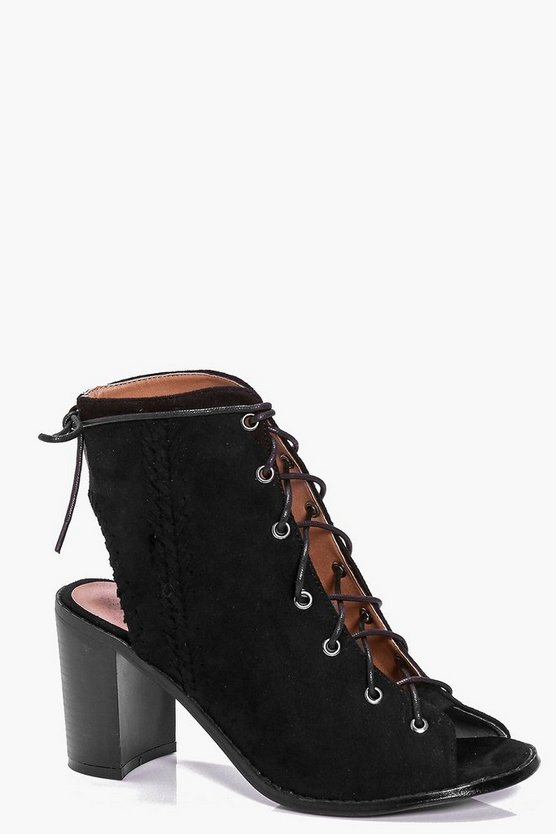 Black Tilly Plaited Side Peeptoe Lace Up Shoe Boot