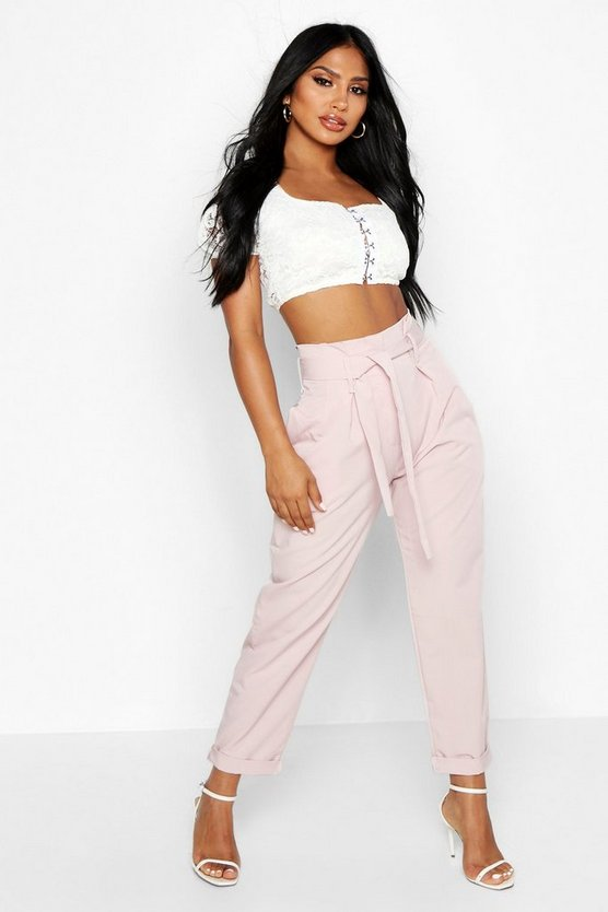 Womens Blush Belted Tailored Trousers