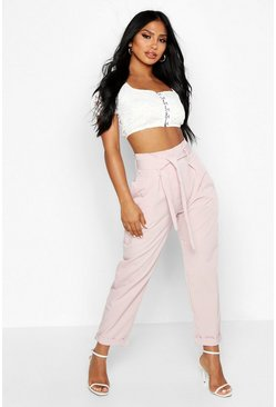 Womens Blush Belted Tailored Pants