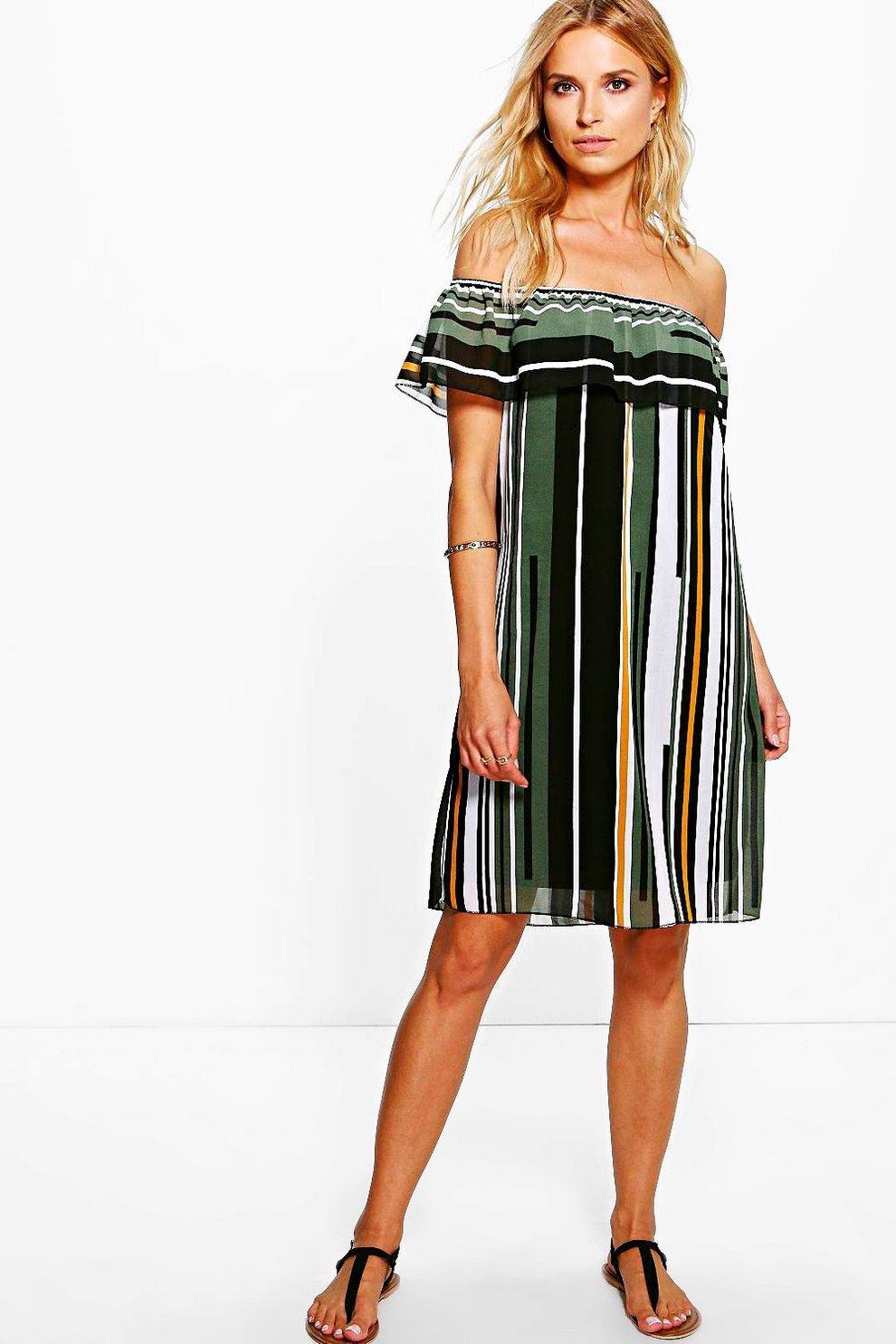 7c5efd21c3a5 Striped Off The Shoulder Dress