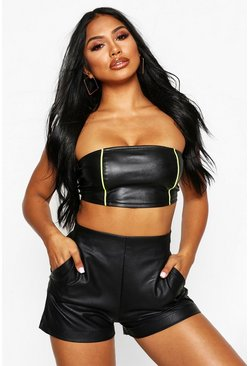 Black High Waisted Leather Look Shorts
