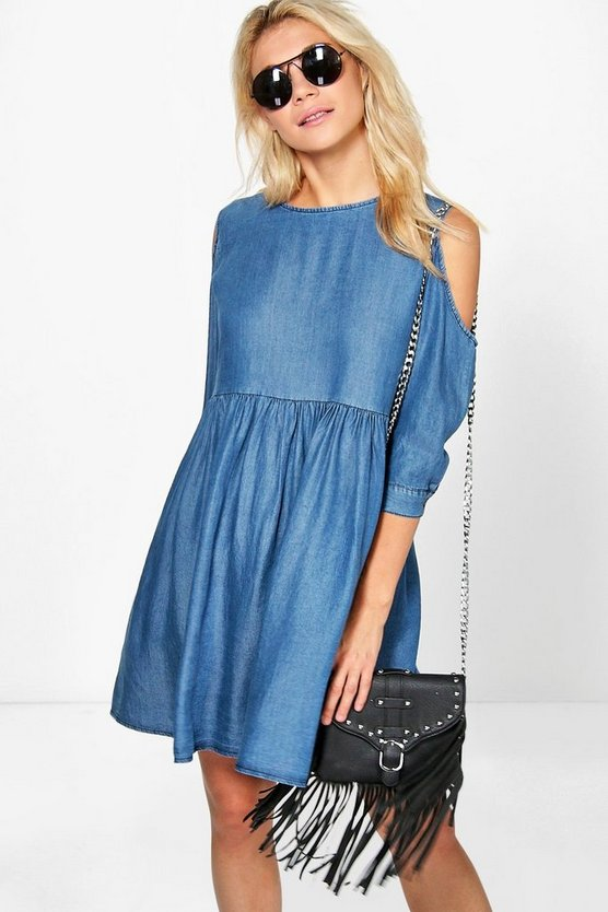 Ruby Cold Shoulder Denim Skater Dress