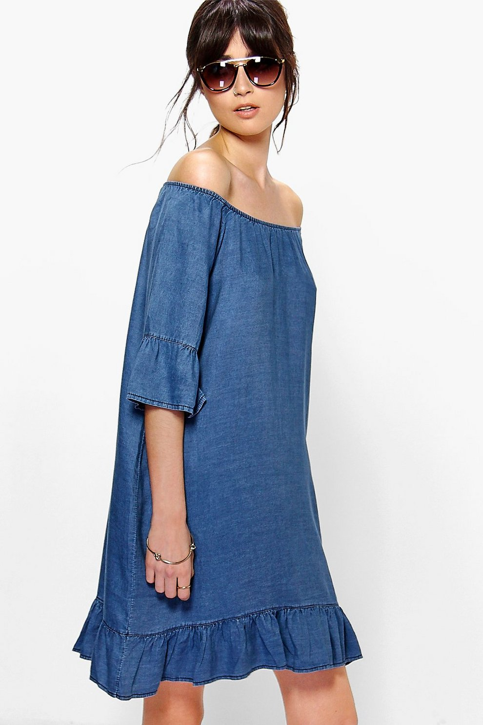 a493e7e4 Ada Off The Shoulder Ruffle Sleeve Denim Dress | Boohoo