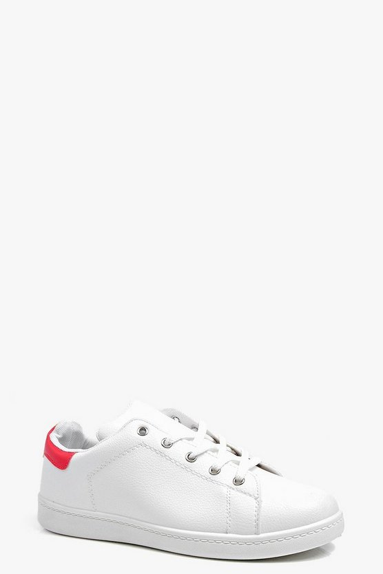 Amy Lace Up Flat Trainer With Colour Tab