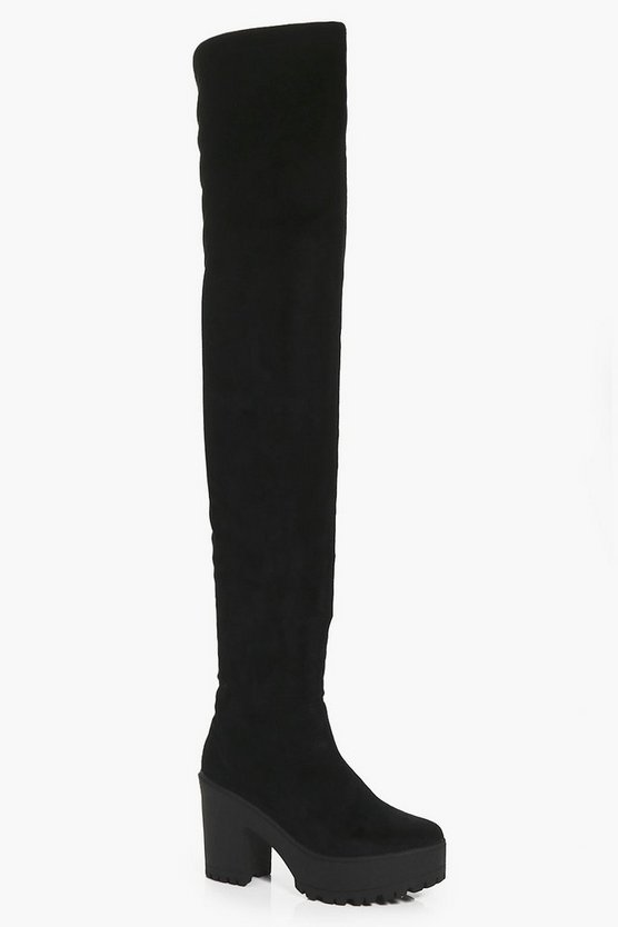 Cleated Thigh High Boots
