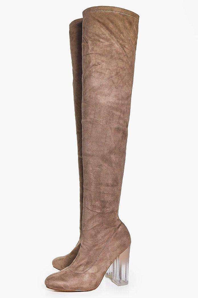 Macy Clear Heel Thigh Boot | boohoo