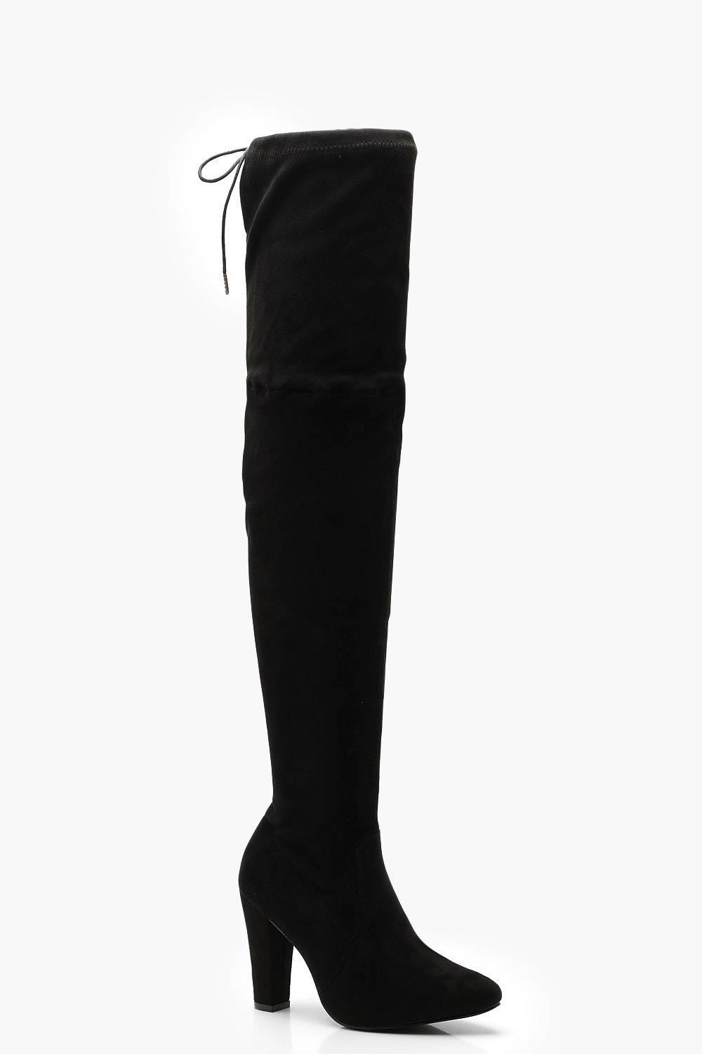 67f5664fe9 Womens Black Block Heel Thigh High Boots. Hover to zoom