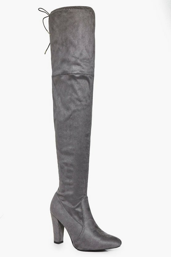 Block Heel Thigh High Boots