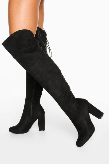 Womens Black Lace Back Block Heel Over The Knee Boots