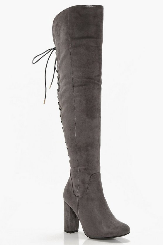 Lace Back Block Heel Over The Knee Boots Lace Back Block Heel Over The Knee Boots by Boohoo