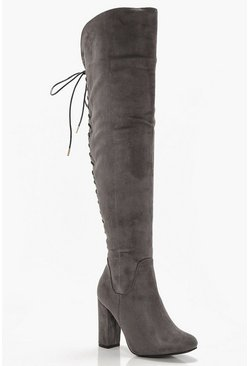 Womens Grey Lace Back Block Heel Over The Knee Boots