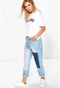 Womens Mid blue Alice Patchwork Boyfriend Jeans