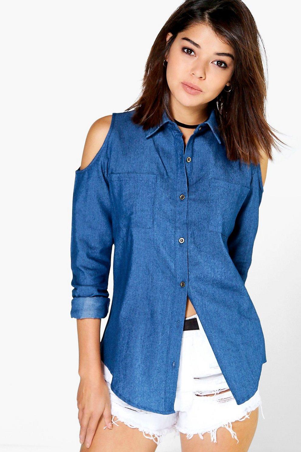 c7349c9b34d1 Amy Open Shoulder Denim Shirt