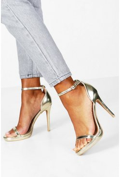 Zweiteilige Plateau-Pumps in Metallic-Optik, Gold