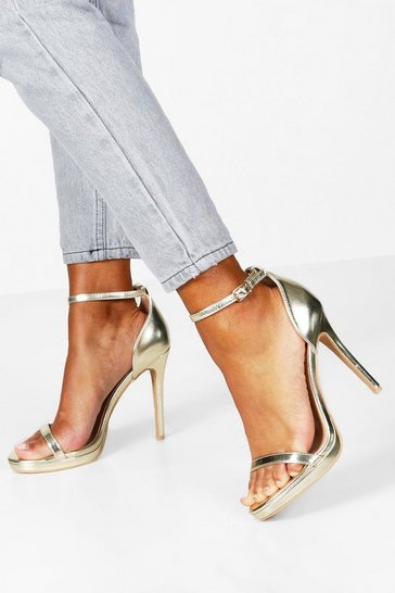 Gold Metallic Single Platform Two Part Heels