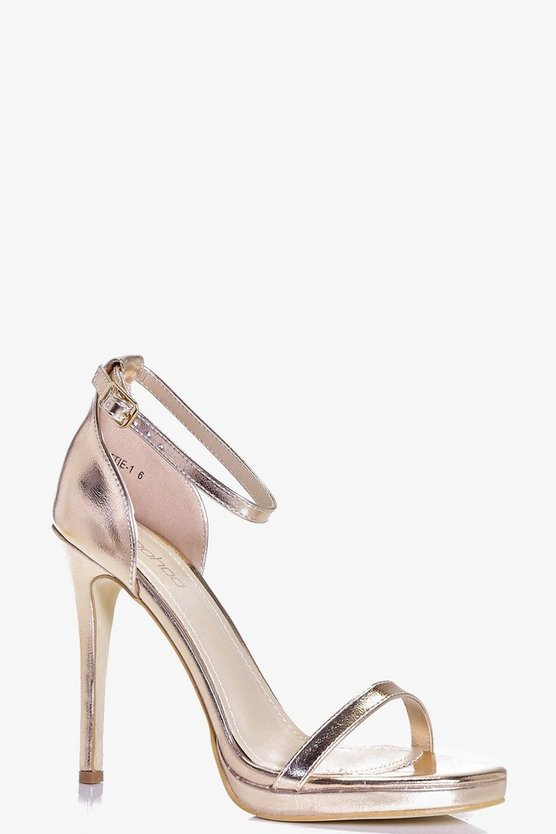 Womens Rose gold Metallic Single Platform Two Part Heels