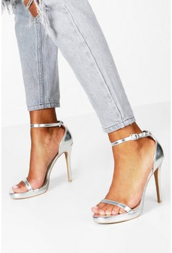 Silver Metallic Single Platform Two Part Heels