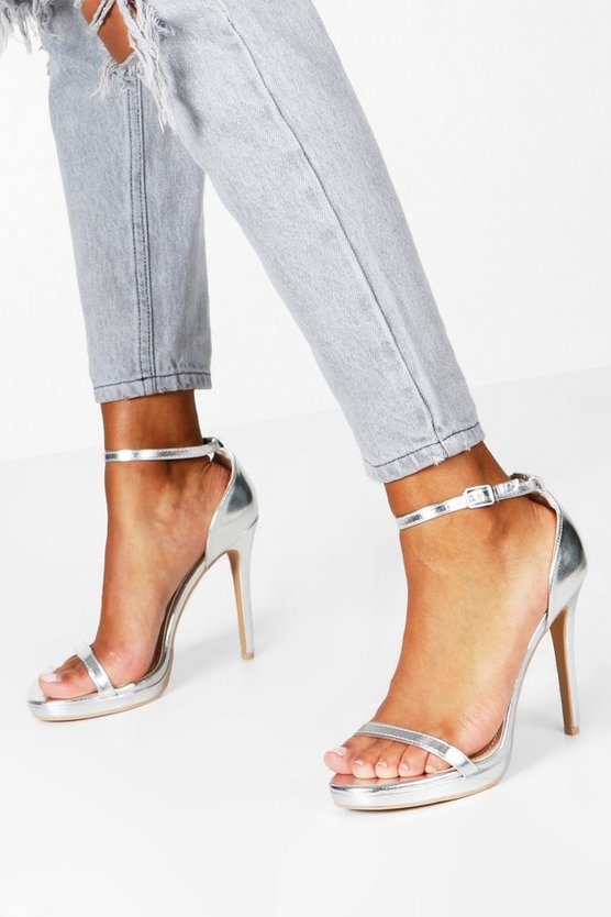 Womens Silver Metallic Single Platform Two Part Heels