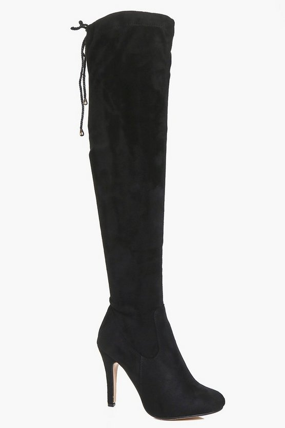Womens Black Willow Stiletto Over The Knee Boots