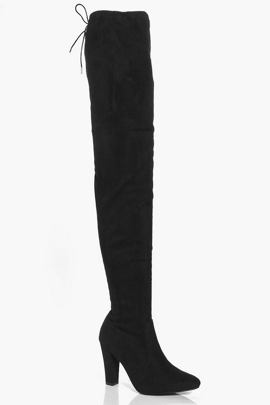 Womens Black Thigh High Block Heel Boots