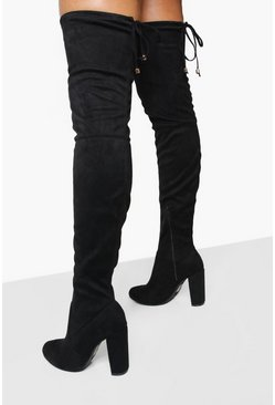 Womens Black Block Heel Tie Back Thigh High Boots