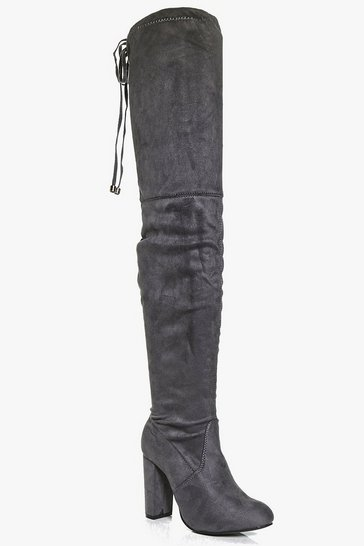 Womens Grey Block Heel Tie Back Thigh High Boots