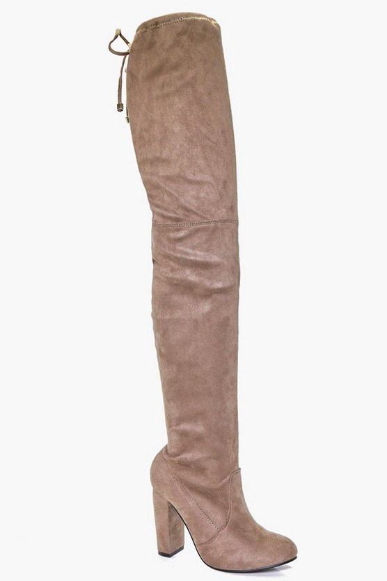 Womens Mocha Block Heel Tie Back Thigh High Boots