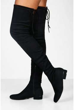 Dam Black Flat Tie Back Thigh High Boots