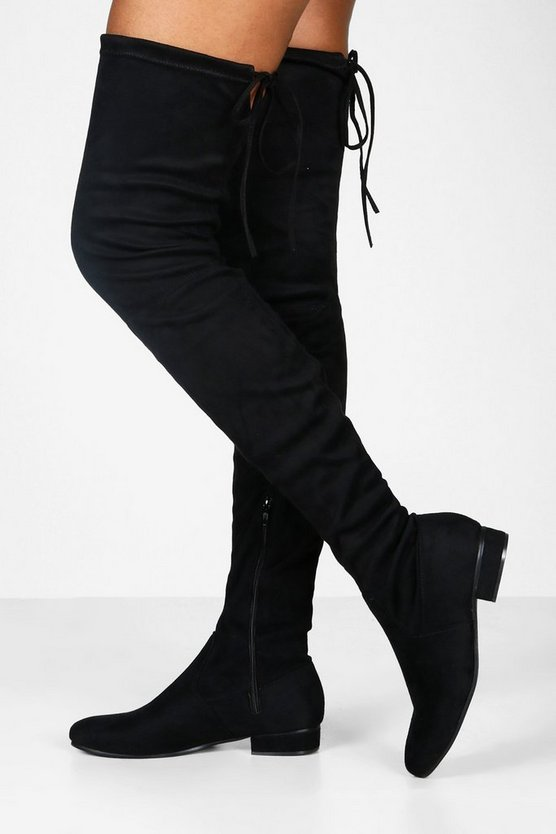 Lucy Flat Tie Back Thigh High Boots