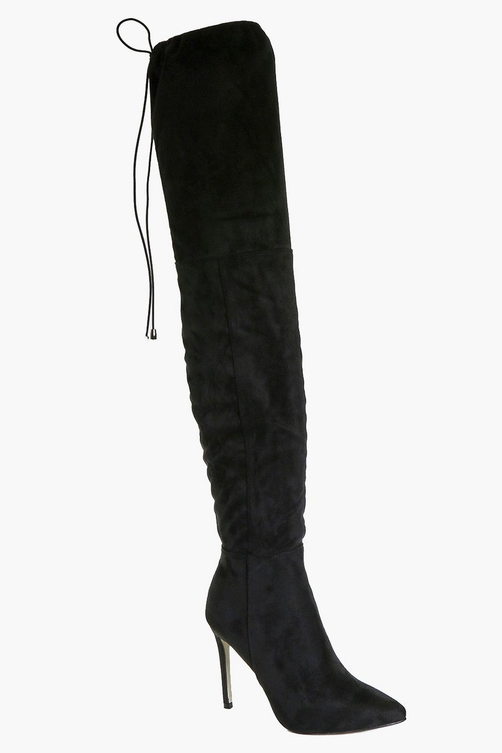 eeefa2923f Womens Black Pointed Toe Thigh High Boots